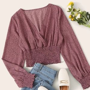 Shein Pink Speckled Print Smocked Wrap Top